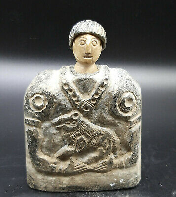 Very Ancient Old Bactrain Stone Wonderfull Male Figure Idol With Head
