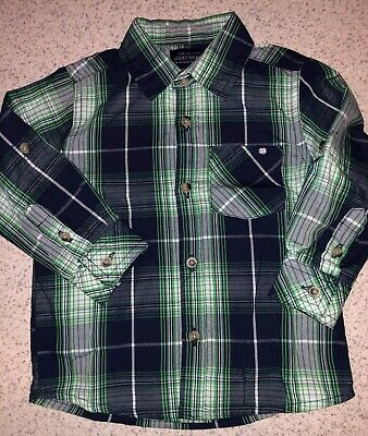 Boys 18 Months Blue White Green Plaid Lucky Brand Long Sleeve Button Up Top Shir