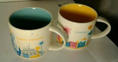 2 Starbucks You Are Here Mug Magic Kingdom Disney Park Retired Walt Disney + FLA