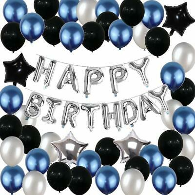 Yoart Birthday Decorations Blue Black And Silver Party Balloons For Boys Men Gi