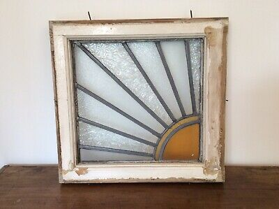 Vintage Stained Glass Leaded Window Panel Architectural Antique Art Deco Sun