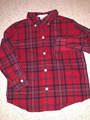 Boys 2T Red Blue White Plaid Janie And Jack Button Up Long Sleeve Collared Top !