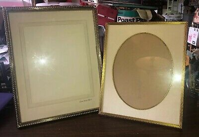 Lot Of 2 Vintage Brass Picture Frame w/ Ornate Corners Matted