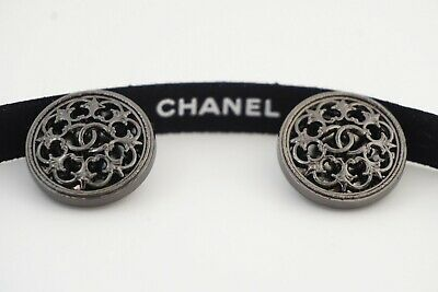 LCHANEL BUTTONS SET OF 2 CC LOGO 20 mm METAL MADE IN FRANCE