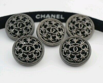 CHANEL BUTTONS SET OF 5 CC LOGO 20 mm METAL MADE IN FRANCE