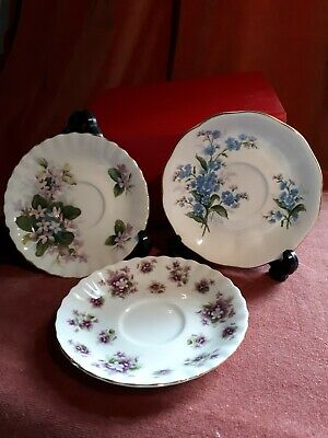 Royal Albert Sweet Violets, Forget-Me-Not,Mayflower Coffee Saucers