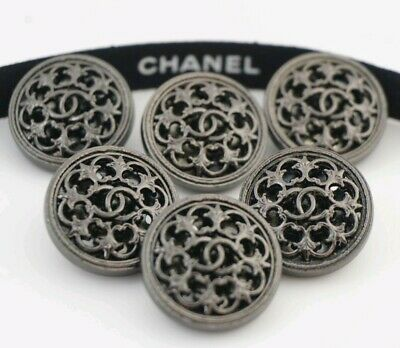 CHANEL BUTTONS SET OF 6 CC LOGO 20 mm METAL MADE IN FRANCE