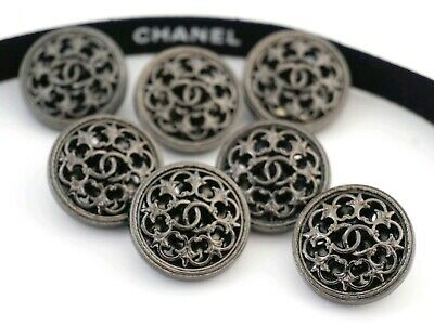 CHANEL BUTTONS SET OF 7 CC LOGO 20 mm METAL MADE IN FRANCE