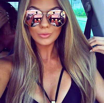 Large Big Thin GOLD Metal Aviator Jennifer Mirror Lens Fashion Women Sunglasses