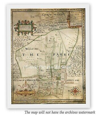 Historic Hardback Map Audley End House & Estate Nr Saffron Walden Essex In 1666