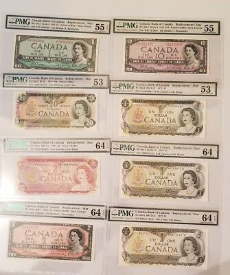 Canada Star Replacements Collection TOP x 8 * PMG 64 GUNC RARE ✱ 1971,1954,1973
