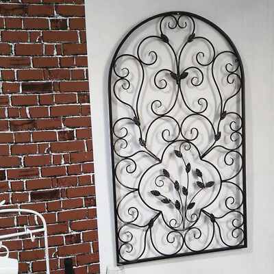 "41"" Hanging Wrought Iron Metal Arch Wall Art Decorative Leaf Shape Ornament"