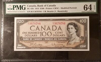 Canada British French $100 1954 Pmg 64 Epq 43B B/J One Year Type Low Mintage !