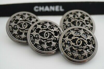 100% CHANEL BUTTONS SET OF 4 CC LOGO 21.6 mm METAL MADE IN FRANCE