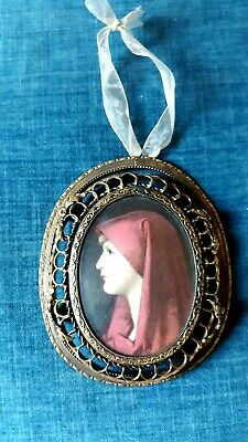 Antique/Vintage Ornate Solid Brass Frame Convex Glass with Photo of St. Fabiola