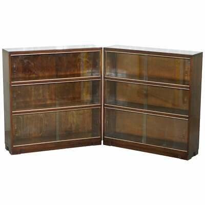 Pair Of Minty Oxford Modular Stacking Mahogany Library Bookcases Glass Doors