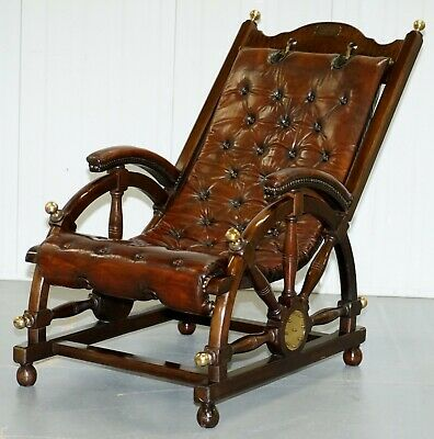 Stamped The Clermont Baltimore 1801 Chesterfield Buttoned Brown Leather Armchair