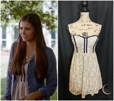 6f2a9891914b ASO Elena Gilbert Pins and Needles Strapless Lace Dress Sz S The Vampire  Diaries