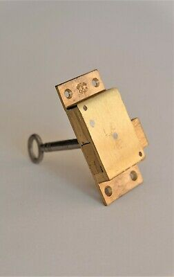 "Brass cabinet furniture cupboard drawer door surface lock 2 1/2"" x 1 1/4"" x 3/8"""