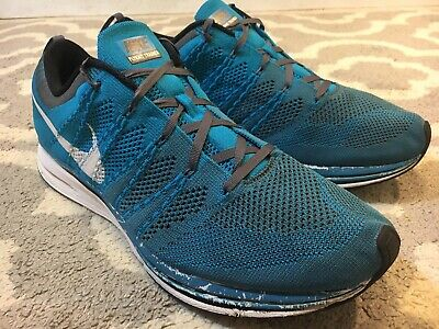 sale retailer 43c98 a7927 Used Mens Nike Flyknit Trainer+ Neo Turquoise 532984 410 Sz 10 Max Air B8