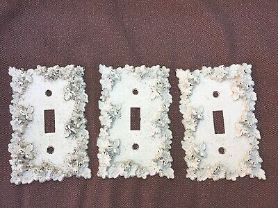 Lot 3 Vintage Antique 1967 American Tack & Hardware Floral Light Switch Covers