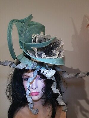 Fascinator hatinator hat races wedding costume formal mint - one off
