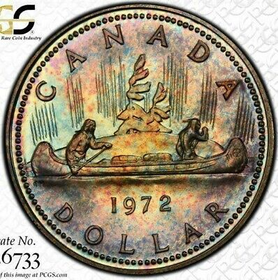 1972 Canada Silver Voyageur Dollar PCGS SP67 Rainbow Color Toned Coin