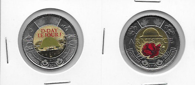 UNC 2019 Canada D Day and 2018 100th Anniversary Armistice  Colored PoppyToonies