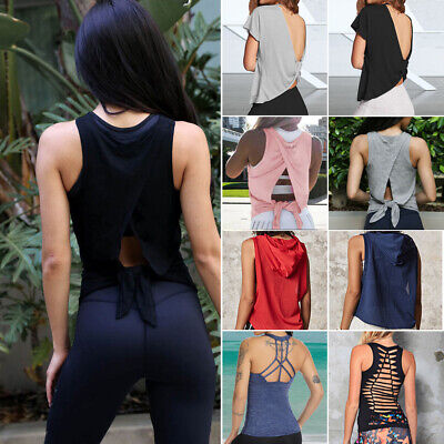 Womens Fitness Tank Top Running Vest Ladies Casual Gym Yoga Loose Sports T Shirt