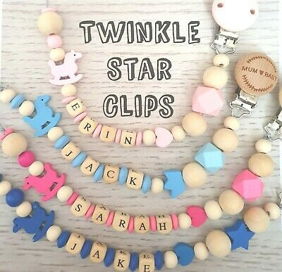 Personalised Wooden Dummy Clip With Rocking Horse