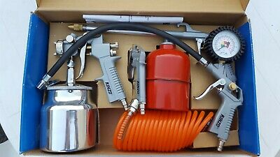 KINZO Air Tool Set, Tyre Gauge, Spray Gun, Degreasing Gun, Blower, Air Line, New