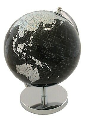 QUALITY World Globe Black & Silver on Stand Home Decor 25cm Present Gift Idea