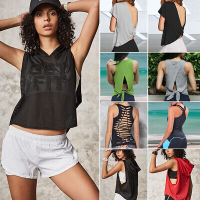 UK Women T-Shirt Sports Running Fitness Exercise Jogging Gym Yoga Vest Tank Top