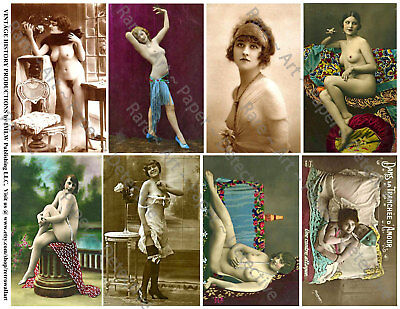FRENCH NUDES, RISQUE PINUP GIRLS, 8 Stickers, 1 Sheet, Scrapbook & Junk Journal