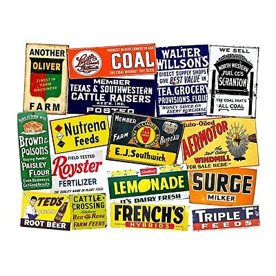 RUSTY FARM ADVERTISING SIGN IMAGES, 16 Stickers, 1 Sheet, Junk Journal & Collage