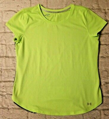 0487d0dbb UNDER ARMOUR Womens Heat Gear Run Fitted Neon Green Shirt XL Tapered Crew  Neck