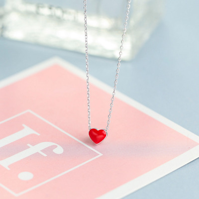 Real 925 Sterling Silver Red Heart Pendant Necklace Chain SOLID Silver Jewelry