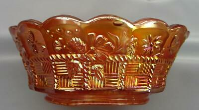 "Northwood SPRINGTIME Marigold Carnival Glass 8¼"" Master Berry Bowl 6745"