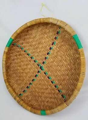 Vintage Large Woven wicker rattan Round Basket Bohemian Style Wall Decor 22 1/2""