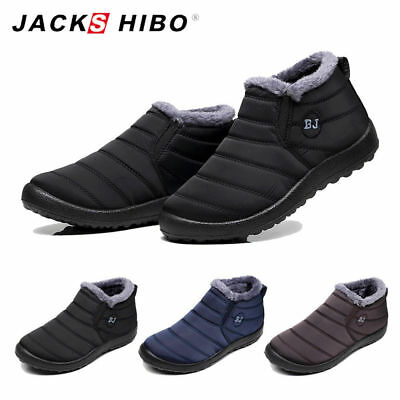 New Mens Winter Snow Ankle Boots Soft Fur Lined Flat Slippers Outdoor Warm Shoes