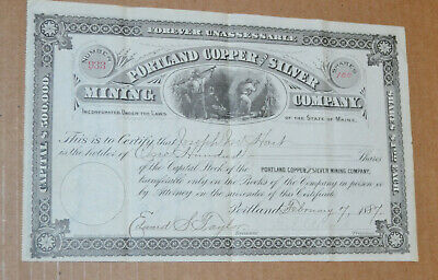Portland Copper and Silver Mining Company 1887 antique stock certificate