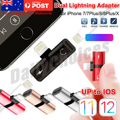 Dual Double Lightning Splitter Adapter to Headphone Earphone Charger For iPhone