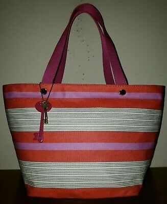 fa751acc9 FOSSIL LG/XL Pink & Orange Striped Coated Canvas Tote/Shoulder Bag/Shopper
