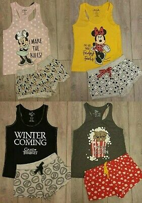 PRIMARK Ladies Girls DISNEY Pyjamas Vest Top Shorts Pyjama Set Pyjamas Pajamas