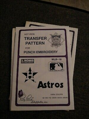 Houston Astros BASEBALL Pretty Punch Embroidery Transfer Patterns