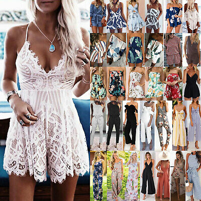 Womens Summer Playsuit Party Long Jumpsuit Mini Shorts Dress Holiday Clubwear