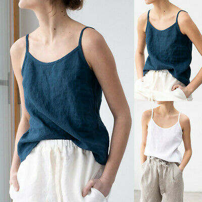 21226df766d9 Women's Sleeveless Solid Linen Sling Vest Backless Cozy Camisole Casual  Tank Top