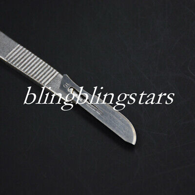 Dental Surgical Stainless Steel Scalpel Blades 10 Pcs 11# Knife + 1 Pc 3# Handle