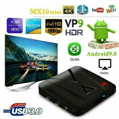 Smart Tv Box Mx10 Mini Ram 4Gb Android 9 32Gb Wifi Rk3328 Mali-450 Usb3 Iptv