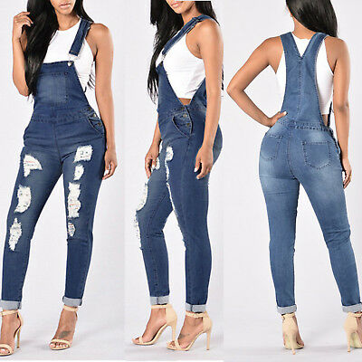 Women Skinny Denim Jeans Full Length Pinafore Dungaree Overall Jumpsuit Summer